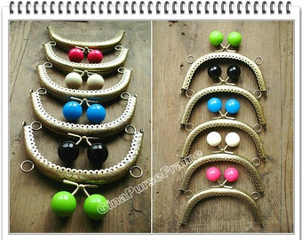 5pieces-5inch(12cm) Candy bead Metal bag purse frame with sewing hole (antique brass color in 5color bead)