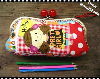 Pretty Girl Eyeglasses and sunglasses purse/Coin purse /// Wallet / Pouch coin purse / Kiss lock frame purse bag-GinaHandMade