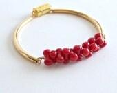 Red Coral Bracelet Gold Tube Bracelet.