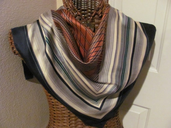 Beautiful Beige Brown Rust ECHO Silk Scarf  - 26 x 26 Square