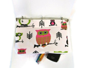Binder Pencil Case OWL Pencil Pouch for 3 Ring Binder Pink & Green  Back to School School Supplies  Ready to Ship Organizer Case  Kids Gift