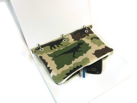 Dinosaur Camouflage  Case for 3 Ring Binder  - Back to School - T-Rex - Ready to Ship
