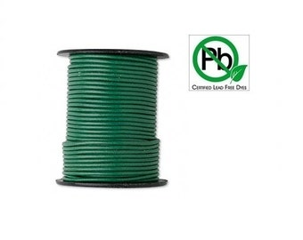 Round Leather Cord Dark  Green  2mm 5meters