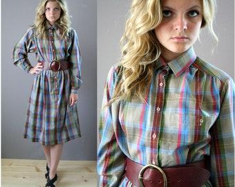 Vintage 80s Plaid Shirt Dress