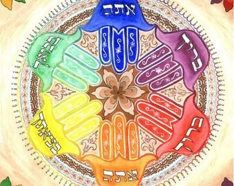 Blessed You Mandala - Fine Art Signed Print - Original Mandala Art - Hamsa Art - Rainbow Art - Colorful Art