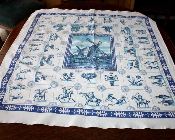 Vintage Luncheon Size Tablecloth Tea Cloth Delft Dutch Holland