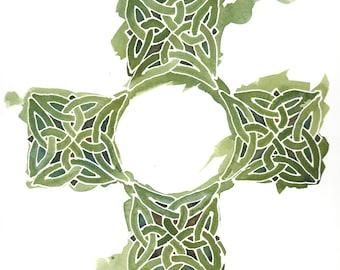 Custom Celtic Cross in Emerald Green, 12x12 orig painting w/ personalization