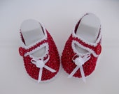 Clearance. Red and White Baby Booties.