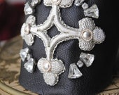 French Embroidered Silver Cross Cuff BRACELET