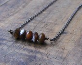 SweeT SaLe . Coffee and Cream Quintuplets. Cluster of 5 Mother of Pearl Cream & Brown rondelles layering necklace. ooak