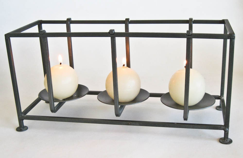 Pillar Candle Holder Rectangular Open Metal Frame Mid Century