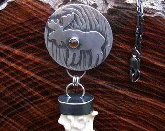 Moose Totem-Antler Energy Sterling & Citrine Pendant