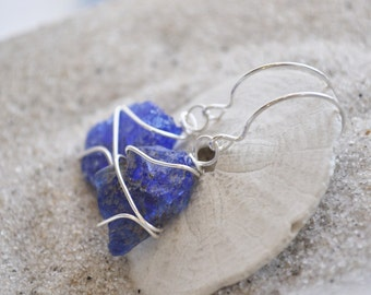 Cobalt Blue Seaglass Earrings - Sterling Silver Seaglass Jewelry
