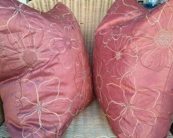 SALE 20x20 COVERS-SET of 2 Marron Flower Decorative Pillow Covers