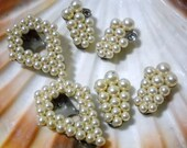 Faux Pearl Shoe Clips Upcycle Material 3 Pairs