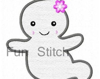 Halloween ghost applique machine embroidery design