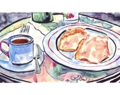 Cafe Watercolor Painting - Coffee and Crepes at Paris Outdoor Cafe Illustration Watercolor Art Print, 11x14