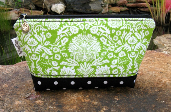 Miss Agreeable  - Make Up Bag - Green and White Damask Design on Top Black and White Polka Dots on Bottom Lined with Clear Vinyl