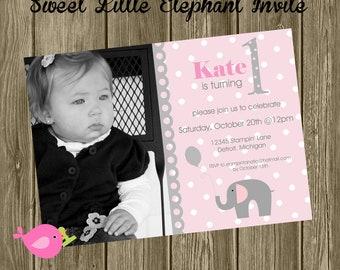 "Sweet Little Peanut Collection: 5x7"" Elephant Birthday Invitations. Elephant First Birthday. Pink and Grey Elephant Invite."