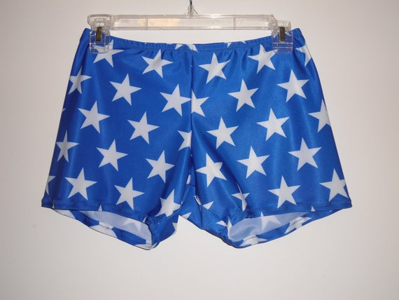 Spandex Shorts In Blue With White Stars