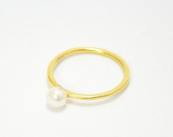 FREE SHIPPING-pearl ring-sterling silver-gold plated-made to order