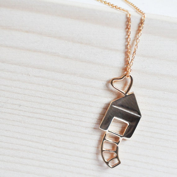 love house necklace- sterling silver- rose gold plated- free shipping