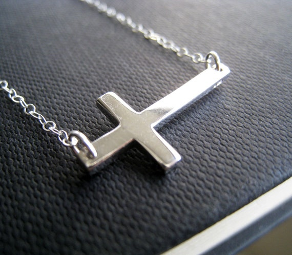 Sideways Cross necklace, sterling silver cross necklace, chic and simple, silver jewelry, bridesmaid gifts