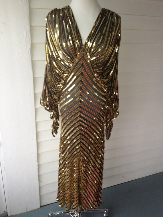 Vtg 1970s Gold Sequin Snd Crepe 1940s Style Hollywood Glamour
