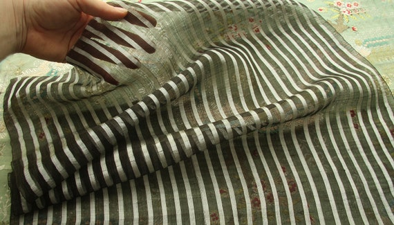 "Rare antique gossamer silk organza fabric 1/2yard 20"" wide ivory stripe woven sheer airy doll dress millinery"