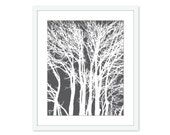 Modern Trees - Wall Art - Branches- Home Decor - Charcoal Grey Titanium -  Neutral - Woodland - Original - Winter Fall Under 20