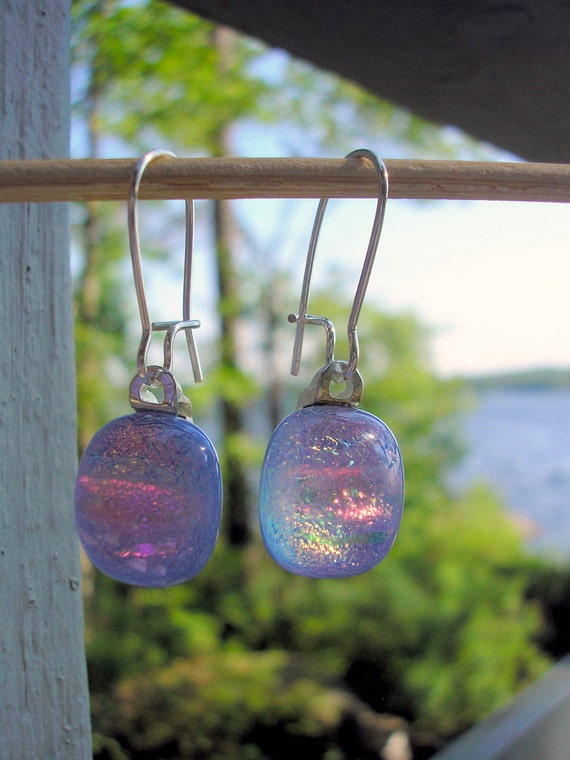 Petite Opalelscent Dichroic Glass Earrings with Kidney Earwires