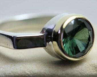 Green Tourmaline, Tourmaline  Ring, Tourmaline Silve Ring, Sterling Silver Ring , Handmade  Ring, Silver and Gold,
