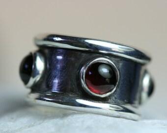 Garnet  Ring, Silver Ring, Sterling Silver Ring,  4  Garnet  Ring, Birthday Ring, Gemstone Ring