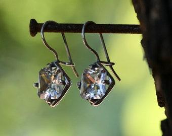 White CZ  Earrings,  Silver Earrings, Handmade 925 Silver Earrings, White stone Earrings