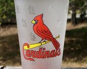 ST. LOUIS CARDINALS Set of 4  Frosted Tumblers Mint Condition Sports Memorabilia Circa late 1980s early 1990s