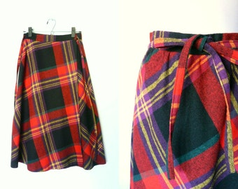 Vintage 70s tartan plaid wool wrap skirt Claude (small)