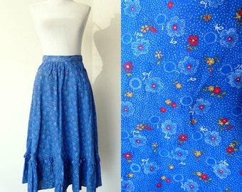 Vintage 70s blue floral prairie skirt boho ruffles (small)