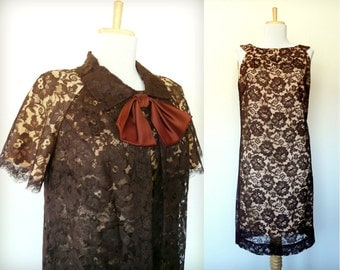 Vintage 60s brown lace dress duster two piece set floppy bow (small)