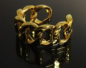 Vintage CHANEL Gold Bangle Bracelet Cuff Jewelry Jewellery Chain 1980s Express Shipping