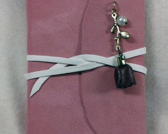 Pink suede journal with rose