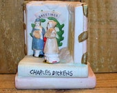 Christmas Minstrels on Charles Dickens Book - Ceramic Holiday Home Decor - Vintage