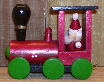 "Christmas Train Engine - Wooden With Santa Driving - 3 5/8"" Long -   Vintage"