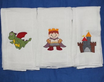Prince Charming burp cloth baby boy burp cloth personalized burp cloth prince burp cloth castle dragon burp cloth