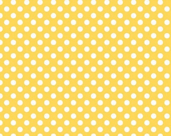 Yellow and White Small Polka Dot Cotton For Riley Blake, 1 Yard