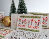 1960's Make Merry party invitations / Holiday Christmas invite cards ... set of 14 with envelopes