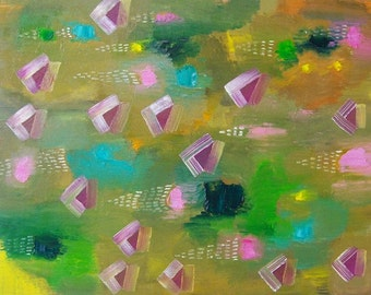 Original Abstract Painting Green Yellow Fuchsia Triangles 8x10