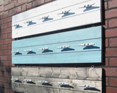 4 Foot Plank Coat Rack With Five Galvanized Boat Cleats YOU CHOOSE COLOR