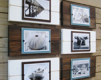 Set of 6  Plank Frames for 5x7 Pictures