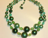 Vintage Double Strand Green Bead necklace from Japan