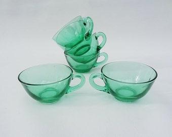 Vintage Glass Teacups Emerald Green Mid Century  Set of Six